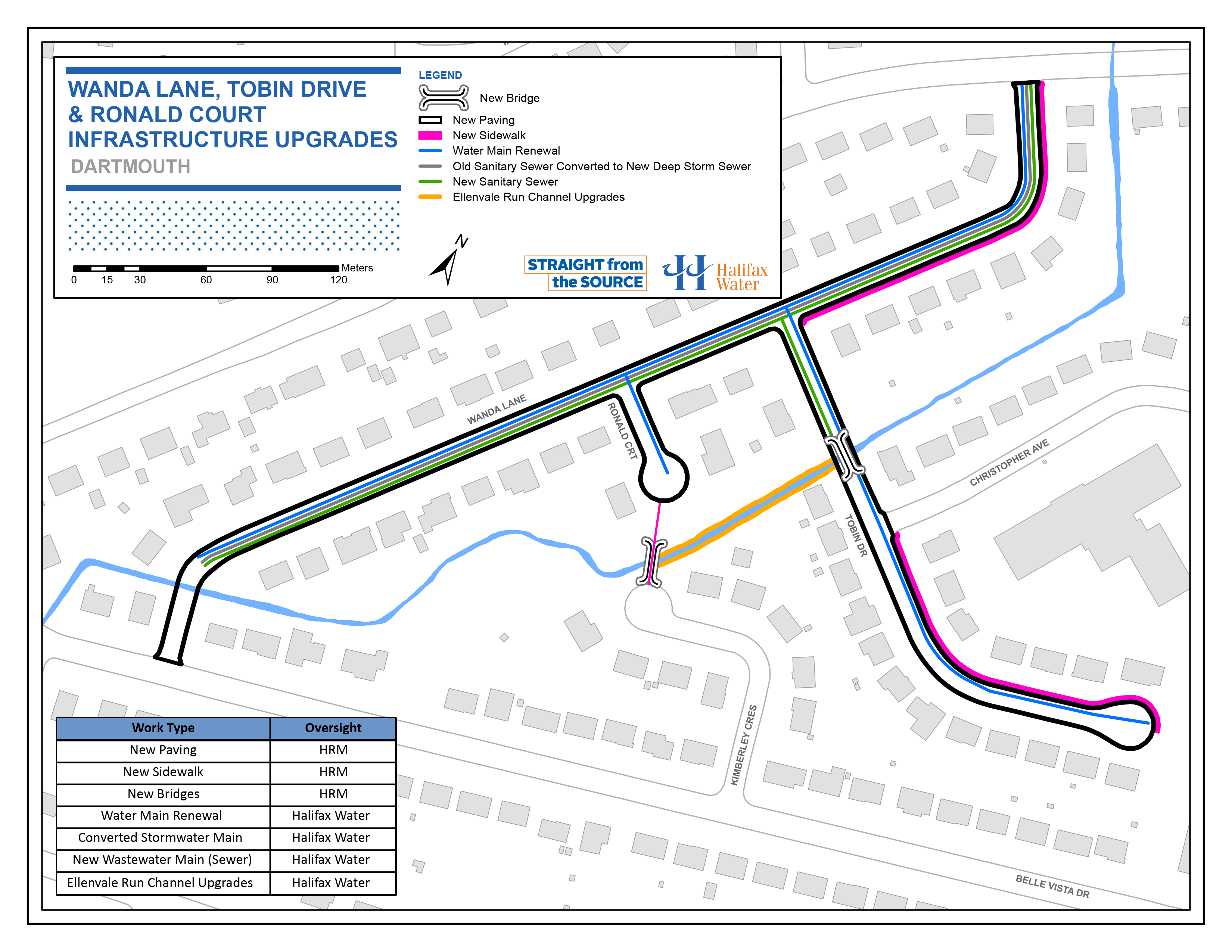 Wanda Lane, Tobin Drive, & Ronald Court Infrastructure Upgrade Map