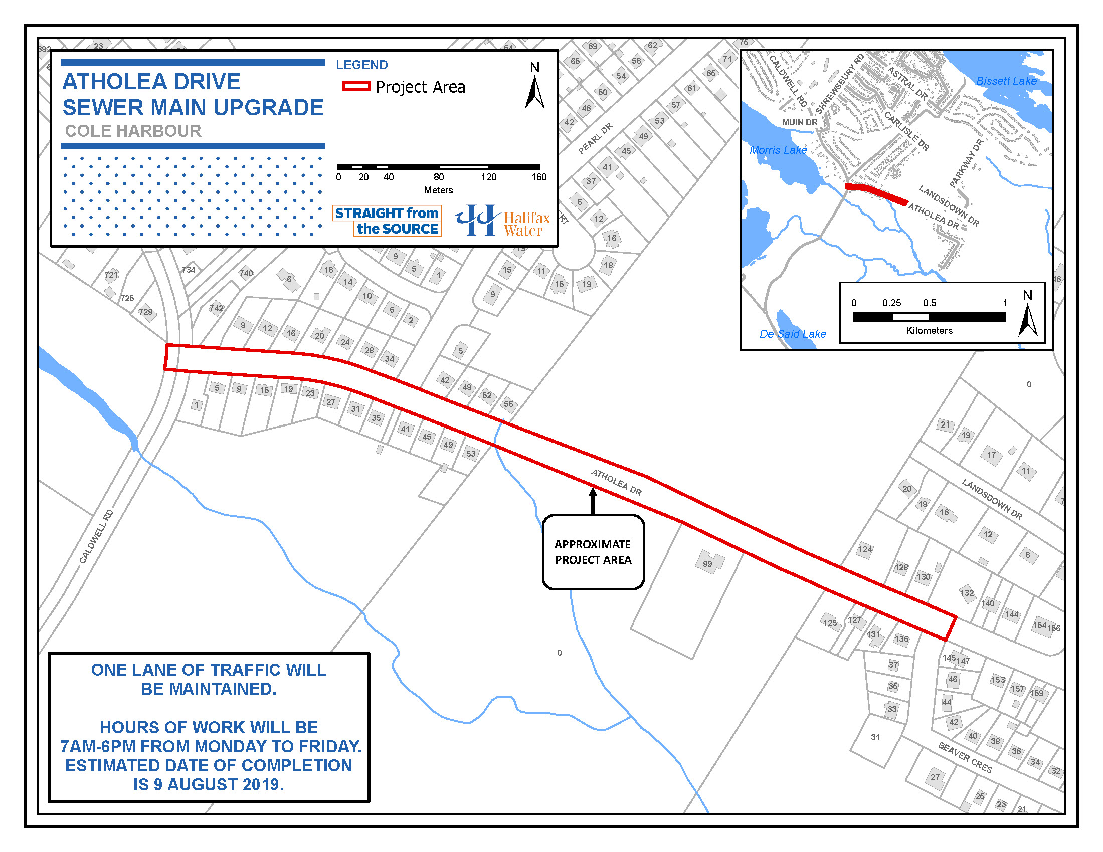 Atholea Drive Sewer Main Upgrade Map of Work Area