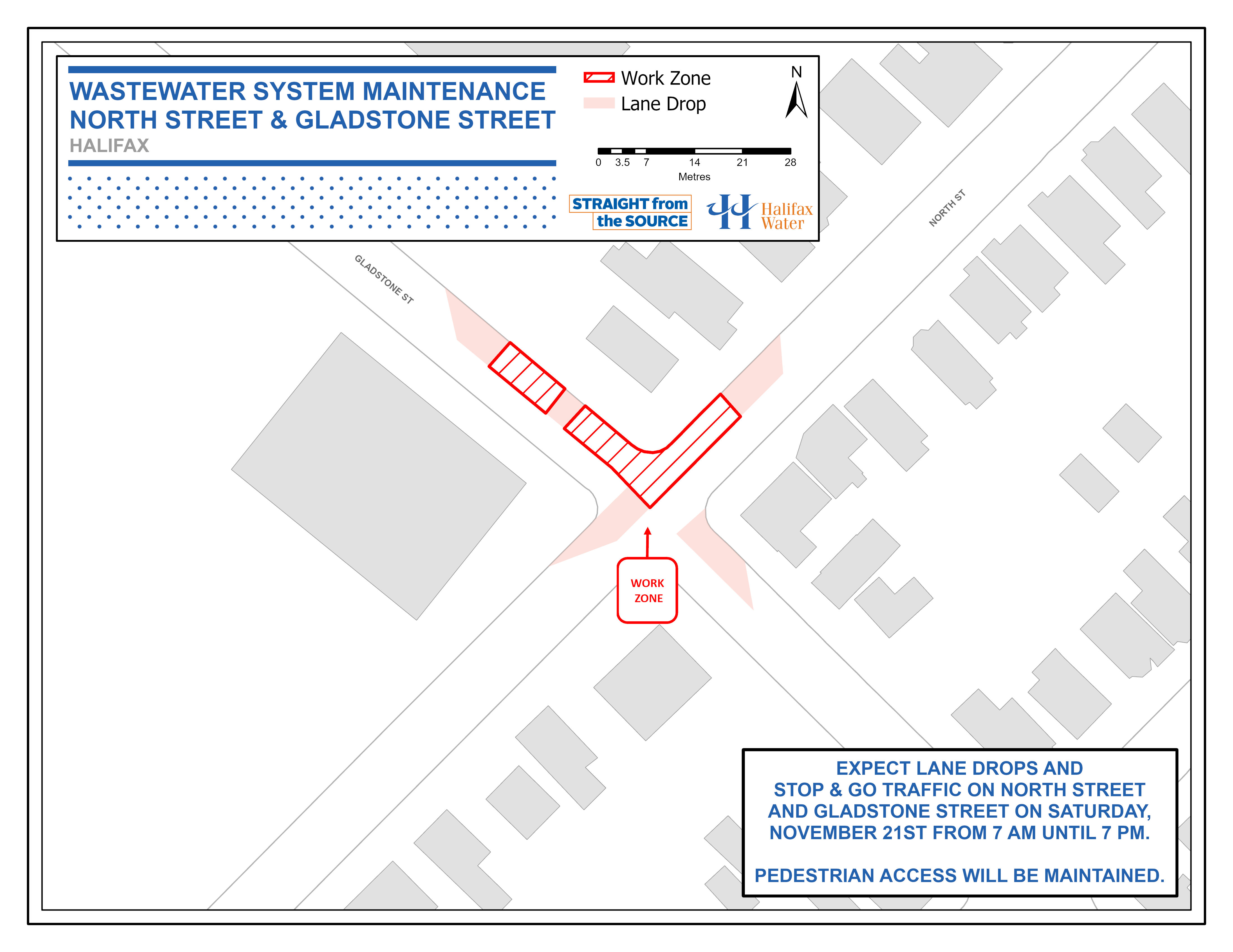 Halifax Water PSA Map - North St. and Gladstone St. - Wastewater System Maintenance