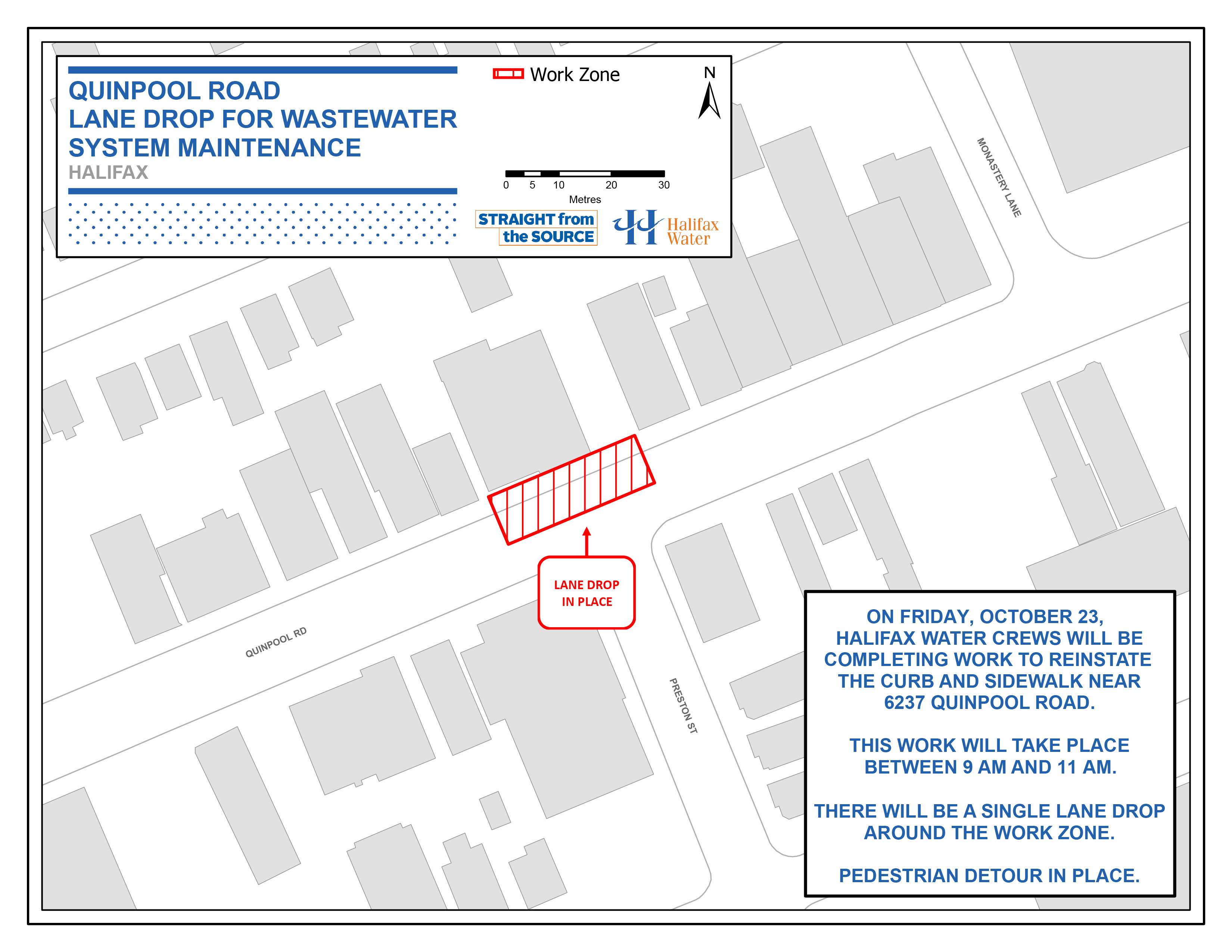 Halifax Water PSA Map - Quinpool Road – Lane Drop for Wastewater System Maintenance