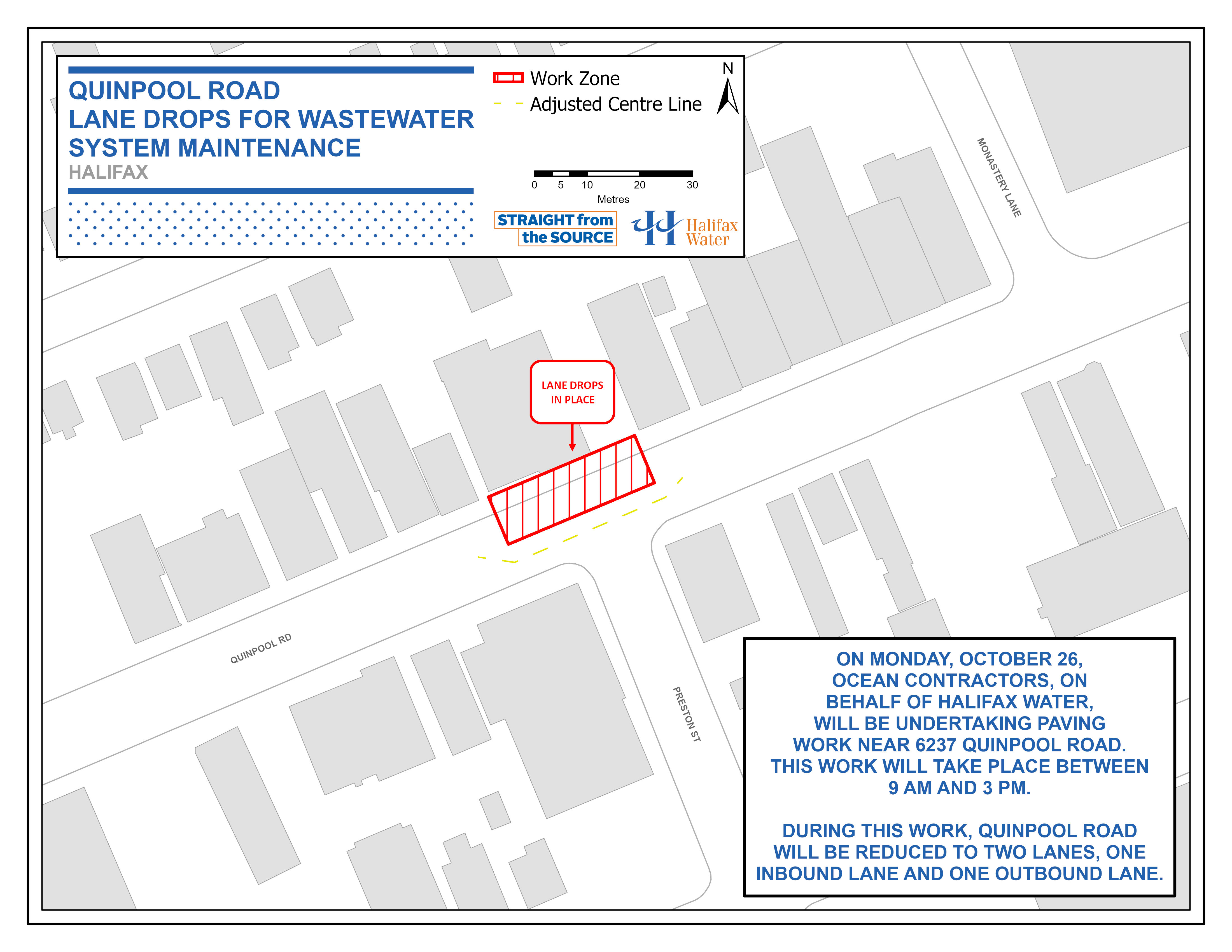 Halifax Water PSA Map - Quinpool Road – Lane Drops for Paving Work