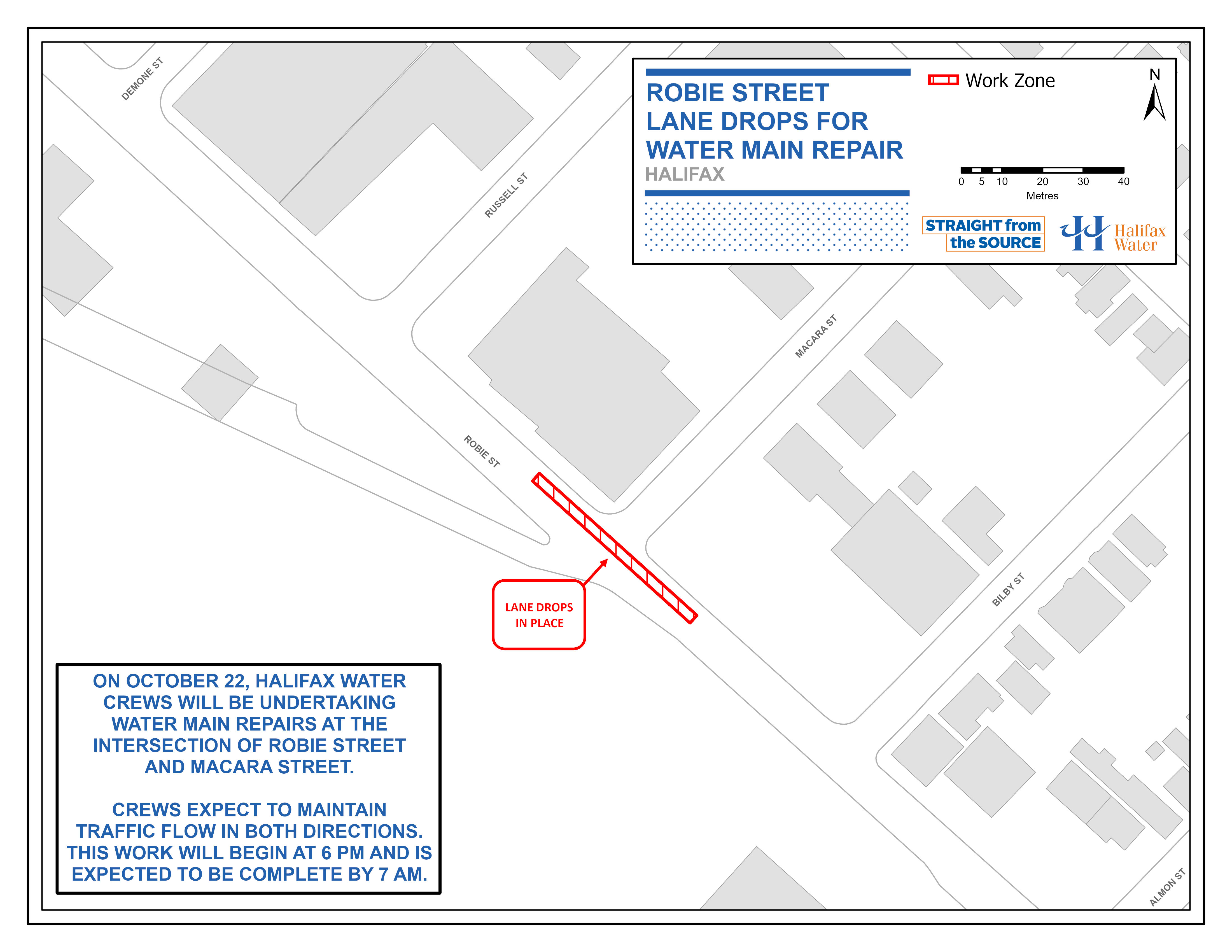 Halifax Water PSA Map - Robie Street - Lane Drops for Water Main Repair