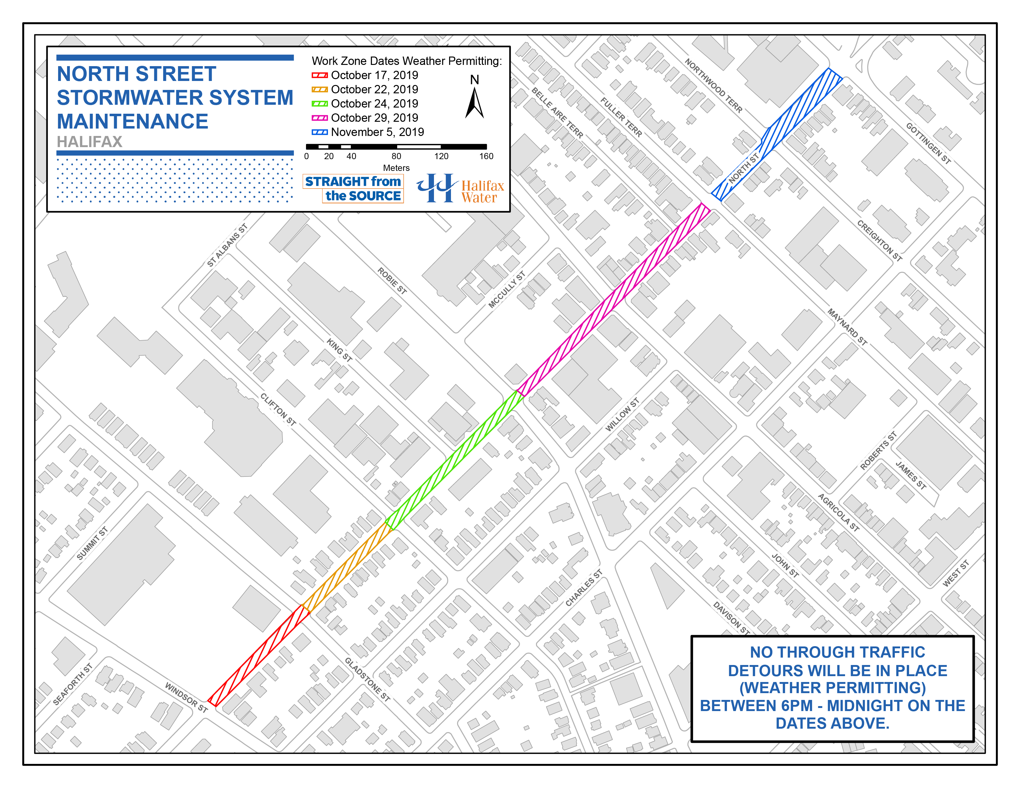 Halifax Water PSA Map - October 15 2019 - North Street - Stormwater System Maintenance