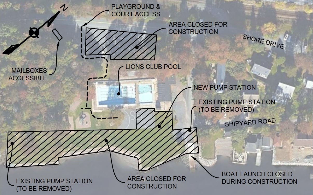 Shipyard Road Wastewater Pump Station Work Area Map