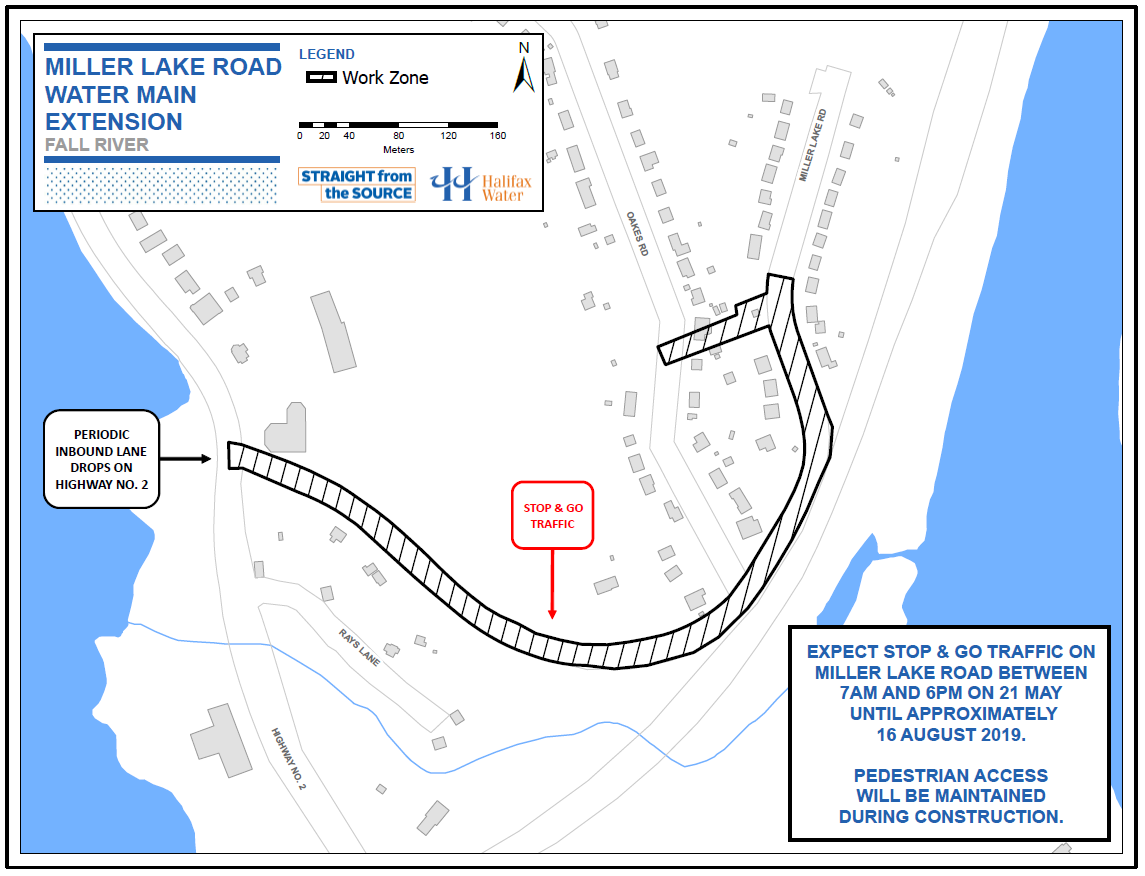work zone map of Miller Lake Road water main extension
