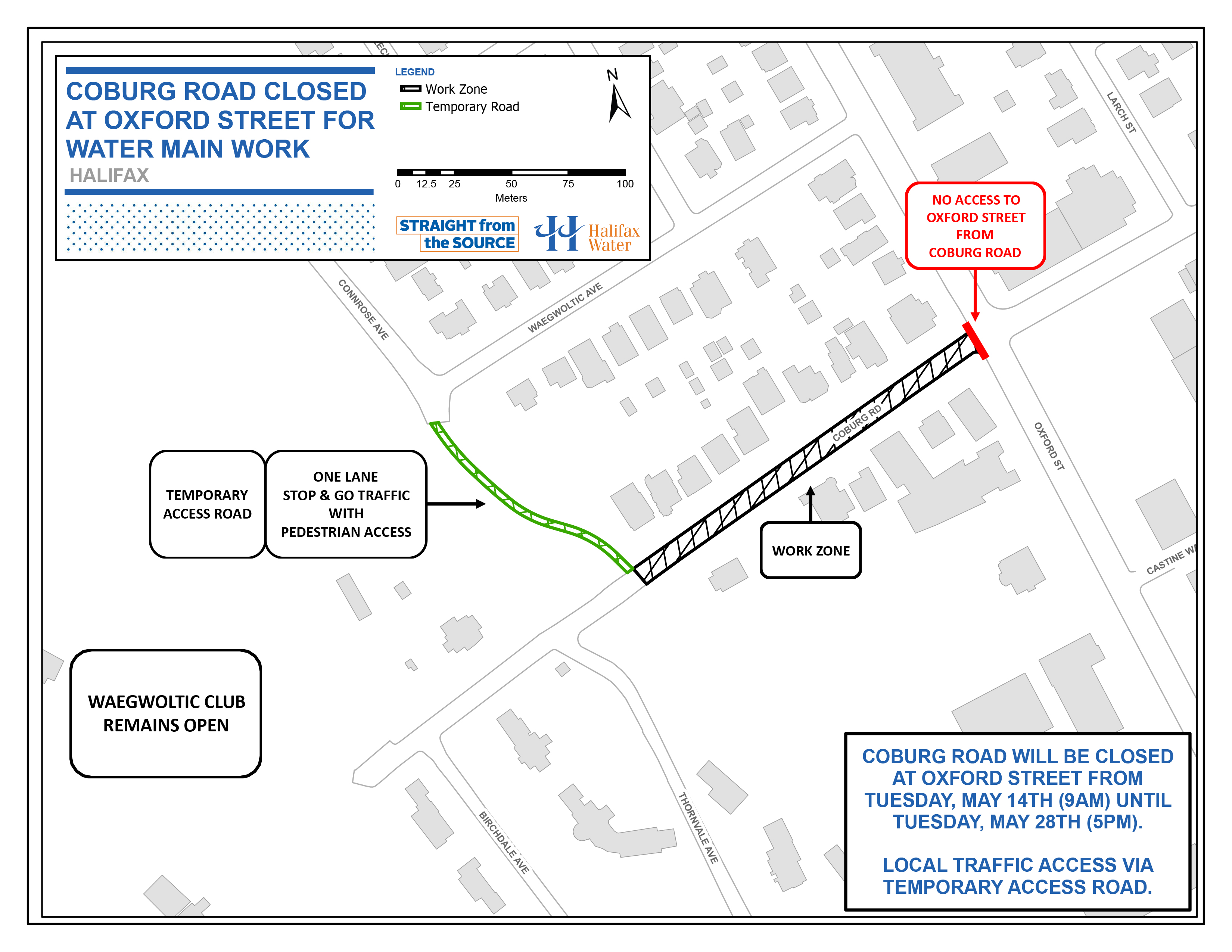 Work zone map Coburg Rd water main work May 10, 2019